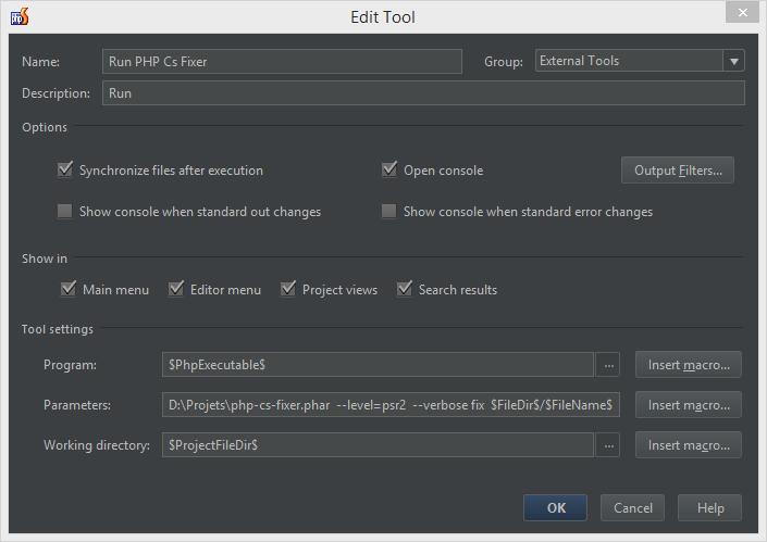 configuration phpcsfixer